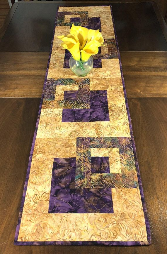 Plum And Gold Quilted Tablerunner Modern Batik Table Runner Handmade Wallhanging Reversible Table Quilt Contemporary Dining Decor Batik Table Runners Quilted Table Runners Quilted Table Runners Christmas