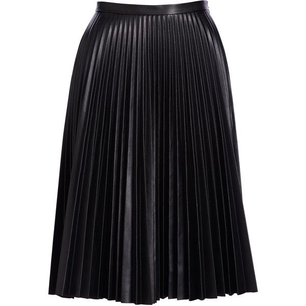 Bagatelle Pliss& Leather Skirt found on Polyvore featuring skirts, saias, bottoms, jupe, knee length a line skirt, knee length pleated skirt, leather a line skirt, real leather skirt and cusp by neiman marcus