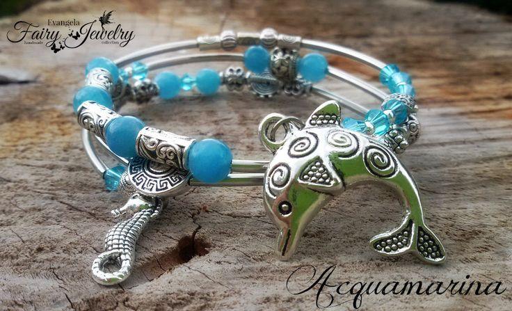 Bracciale acquamarina spirale delfino mare estate azzurro, by Evangela Fairy Jewelry, 8,00 € su misshobby.com