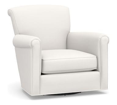 Irving Roll Arm Upholstered Swivel Armchair White
