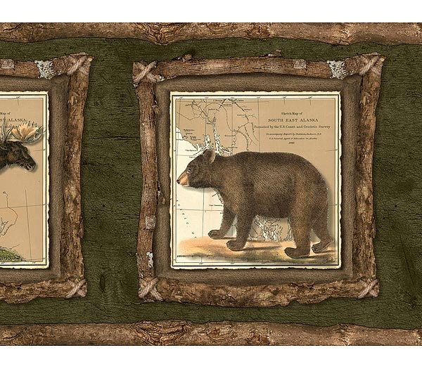 Interior Place Moose and Bear Twig Wallpaper Border, 20