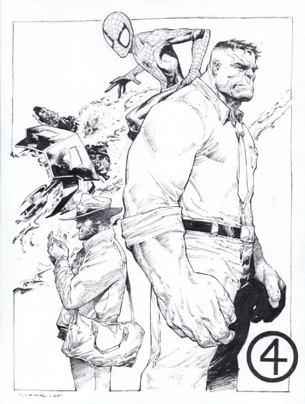 Fantastic Four - The Hulk, Wolverine, Ghost Rider, and Spider-Man by Jerome Opena