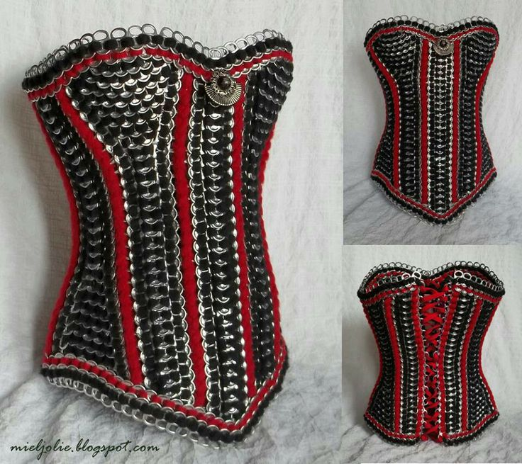 D.I.Y. corset out of recycled pop tabs!!
