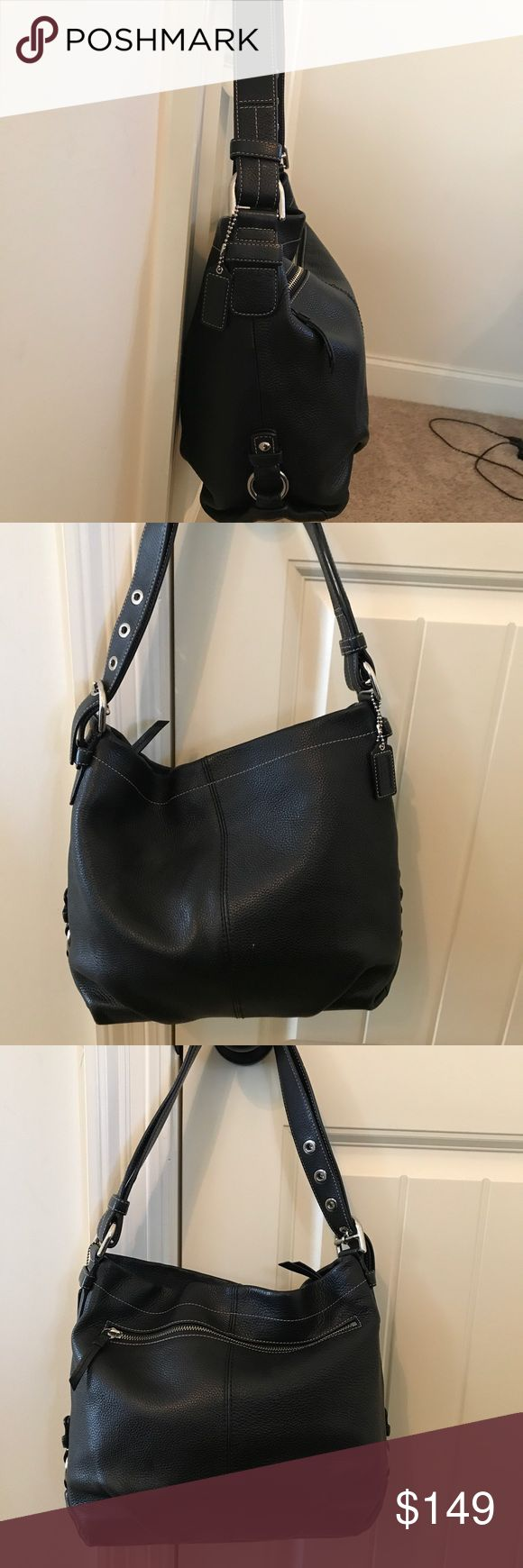 Black Coach Purse Shoulder or Crossbody Black, leather purse. Great used condition. Zippers work perfectly, no defects in the leather. There are some pen stains inside the bag. Can be worn as shoulder bag or cross body. Coach Bags Crossbody Bags