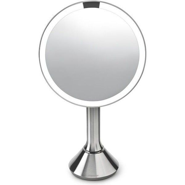 "Pottery Barn simplehuman(R) 8"" Brightness Control Mirror ($200) ❤ liked on Polyvore featuring home, bed & bath, bath, bath accessories, pottery barn bath accessories, pottery barn bathroom accessories and pottery barn"