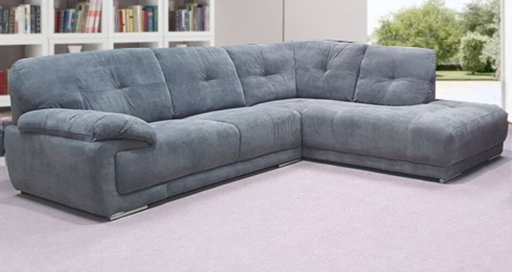 Santana Full Grey Fabric Corner Sofa