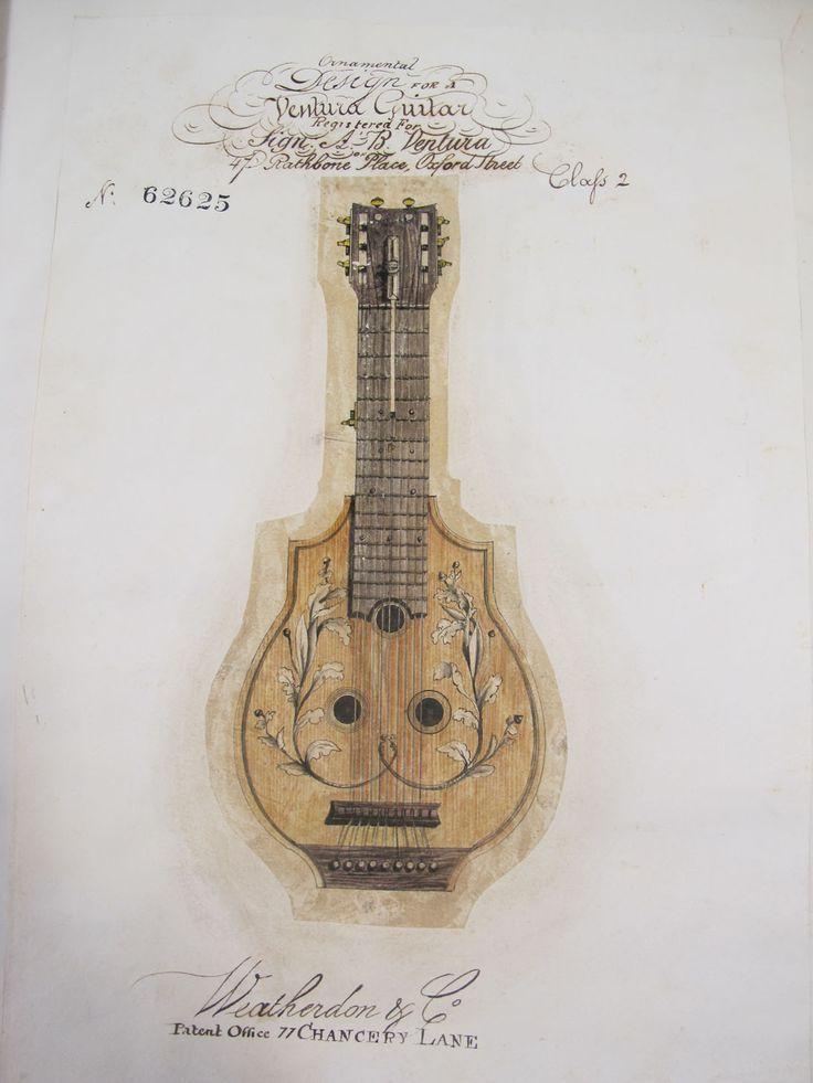 Saxhorns & Serpentcleides: a history of musical instruments, via National Archives UK. Drawing of Regency era Ventura guitar