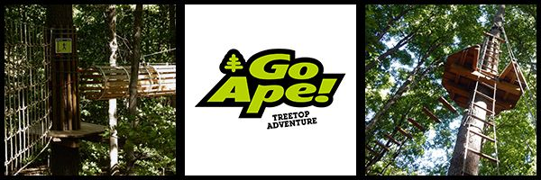 My husband and I went on a tree top adventure at Go Ape in  Eagle Creek Park on the north side of Indianapolis, IN. Go Ape has parks in Maryland, Pennsylvania, South Carolina, Delaware, Virginia, Indiana, and Missouri and a couple even have a Tree Top adventure for kids! My adventure was a bit more dramatic since I am afraid of heights…but I went anyway and had a lot of fun!