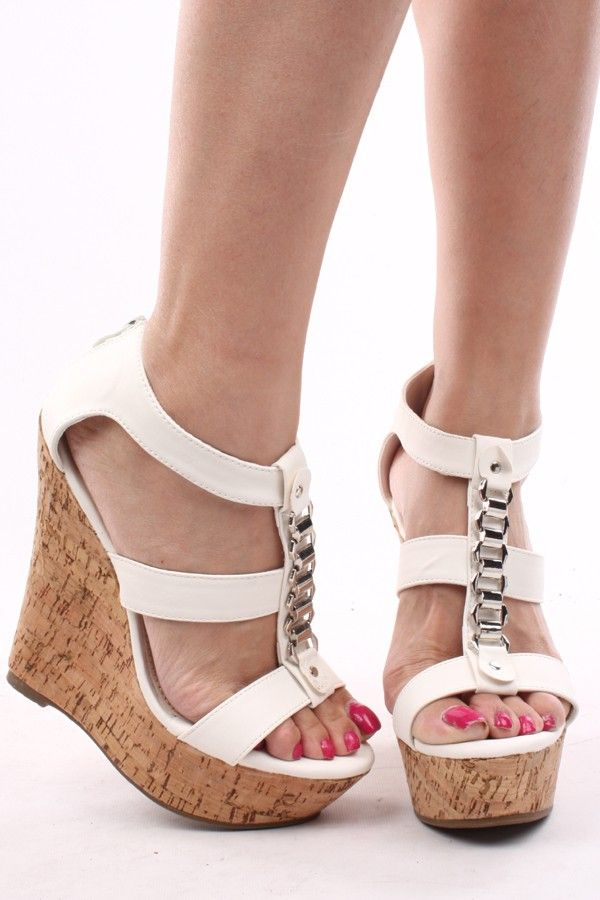 WHITE SILVER CHAIN FAUX LEATHER STRAPPY PEEP TOE CORK WRAP WEDGE,Womens Wedge Shoes For Sale-Heels Wedges,Suede Wedges,Lace Up Wedges,Platform Wedges Shoes,Cutout Wedge Shoes,Sneaker Wedges,Booties Wedges,Cheap Wedge Sandals Shoes,Studded Wedges,Spiked Wedges,Strappy Wedges Shoes Online