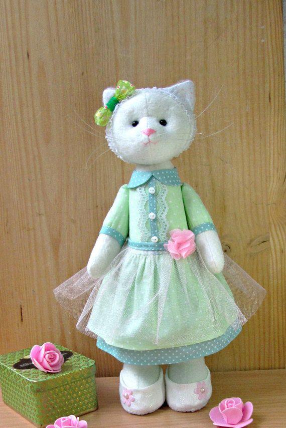 Handmade Cat Textile cat Cat doll Fabric cat Handmade