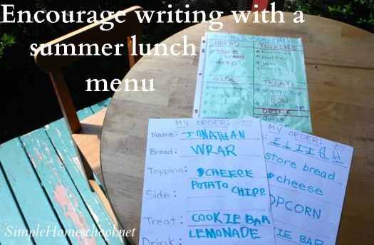 """""""The idea came to me while I was busy making a list of what the kids needed for summer camp. Why not create a lunch menu they could order from? It would be fun, yes, but with the added bonus that they would write their order down–-thereby encouraging summer handwriting practice."""""""