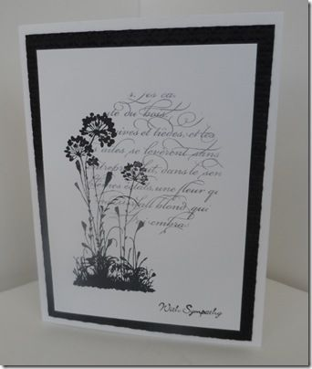 Lee Conrey doing black and white elegance in a sympathy card .. fast enough to do when you NEED one in a hurry