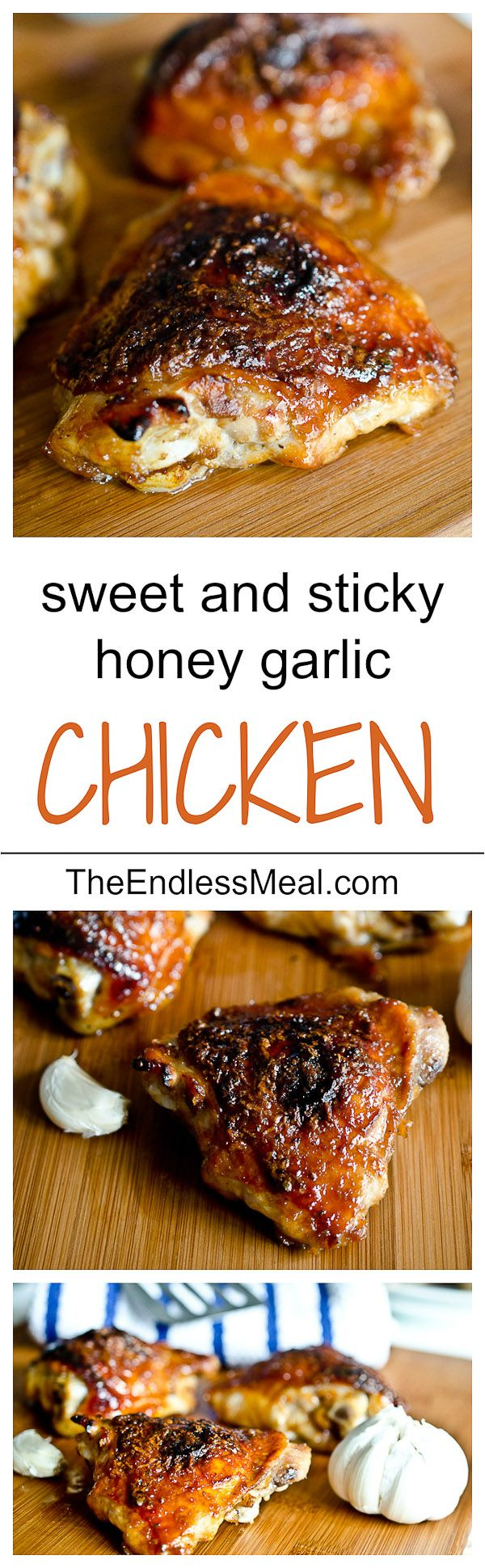 "Honey Garlic Chicken. My notes: used boneless/skinless. Didn't have molasses--must try next time. *Don't use chopper for garlic---use microplane & create paste, as stated* There wasn't much ""sauce"", but don't water it down w/ anything! Like the cooking method. Also see ""honey garlic chicken wings"" recipe on to try board."
