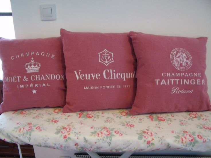 Antique dyed French linen stencilled with champagne labels. 15€ plus p&p find me at https://www.facebook.com/SewchicFrance