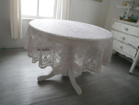 shabby chic lace tablecloth round tablecloth hand by ShabbyRoad