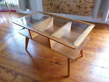 1950s Retro Mid-century Eames Era Blonde Wood Coffee Table with Glass Top