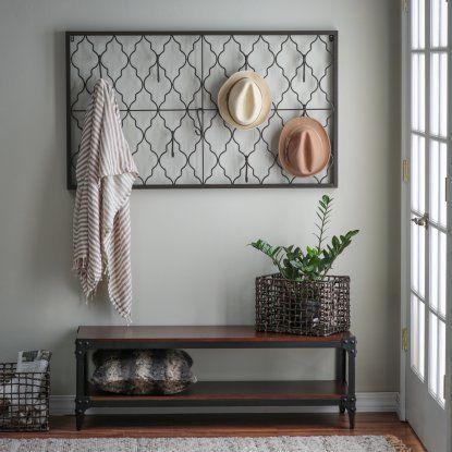 Belham Living Trenton Indoor Bench with Quatrefoil Iron Wall Plaque