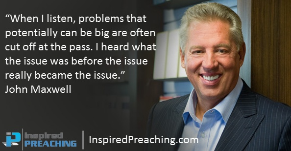 In this clip, Christian author and leadership guru John Maxwell talks about qualities of a leader, and how learning through listening helps you identify and nullify potential issues. http://inspiredpreaching.com/how-to-stop-a-problem-escalating-john-maxwell/