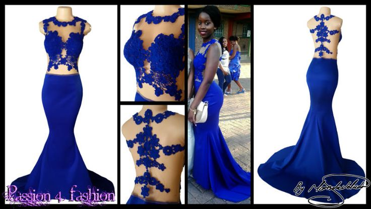 Royal blue tight soft mermaid illusion lace bodice matric ...