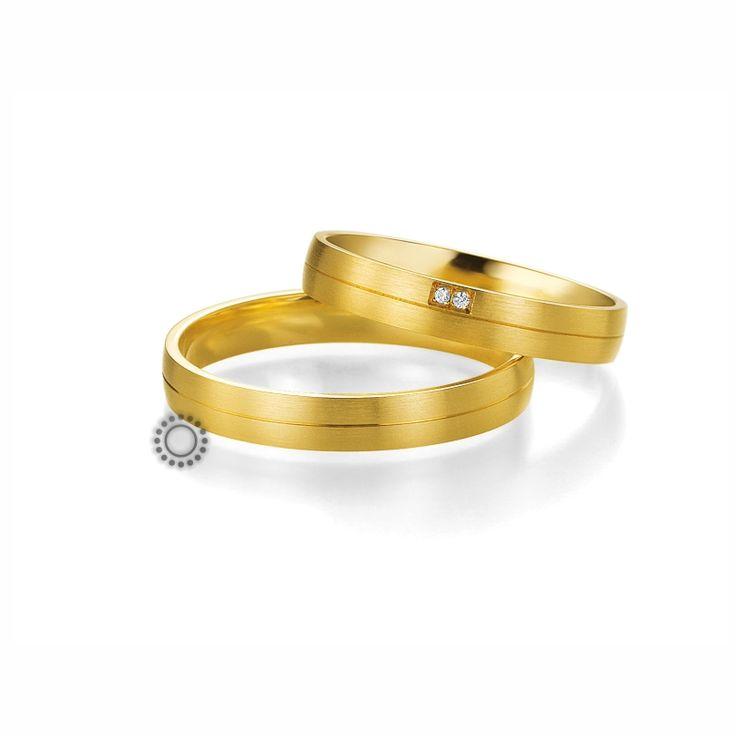 Βέρες γάμου BENZ 007 & 008 - Μοντέρνες ματ χρυσές βέρες Benz με πρωτότυπη θέση στα διαμάντια της γυναικείας βέρας | ΤΣΑΛΔΑΡΗΣ #βέρες #βερες #γάμου