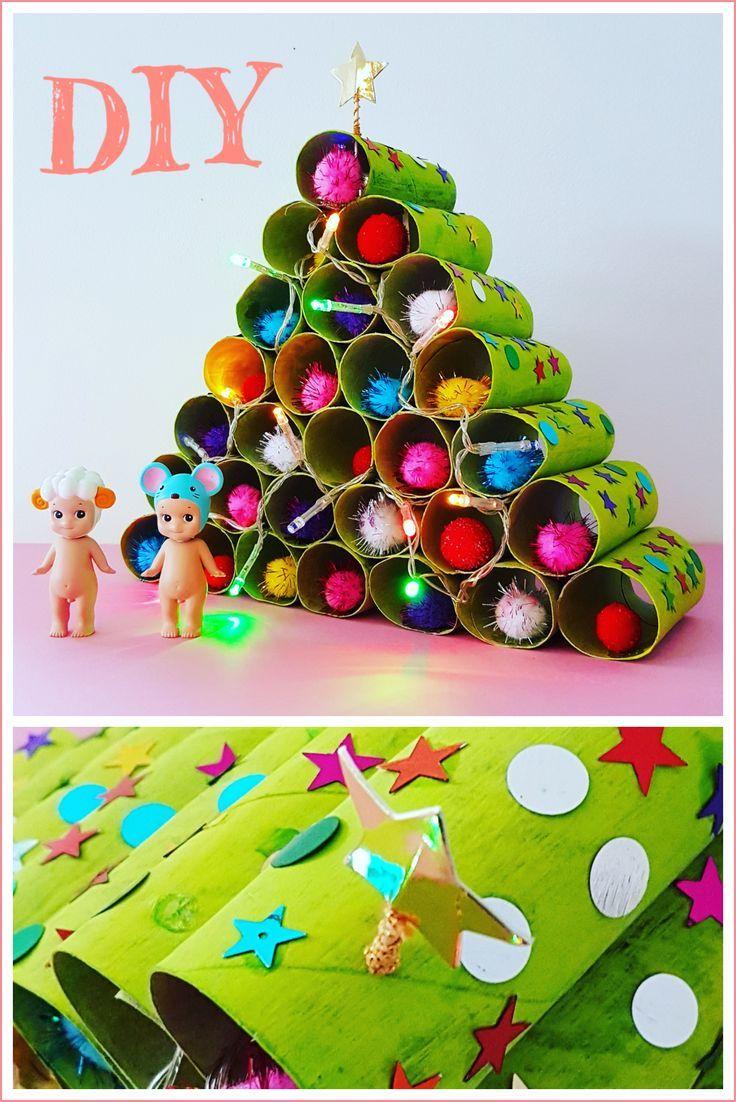 Kerstboom Knutselen Van Wc Rollen Compleet Met Kerstlichtjes En