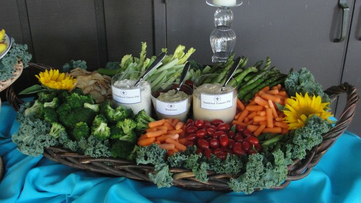 finger foods for afternoon wedding reception | Fresh Vegetable Crudites with Homemade Onion Dip, Sundried Tomato Dip ...