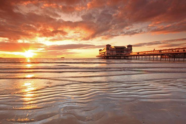 The Grand Pier sunset, seascape, Somerset