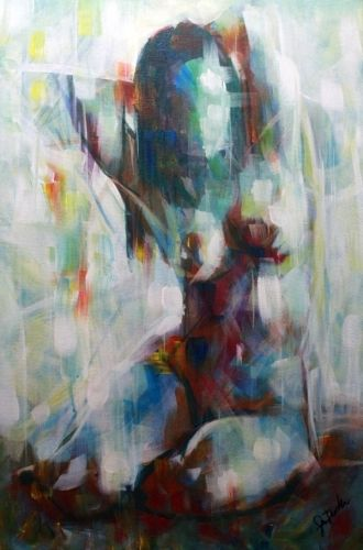 Figurative abstract nude woman Painting. Colourful Original Canvas Painting for sale from http://www.arts-fine.co.uk