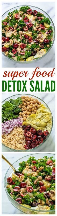 Super Food Detox Salad with Cherries and Kale. Use no salt added chickpeas and skip the salt to make this #PerfectlyPritikin