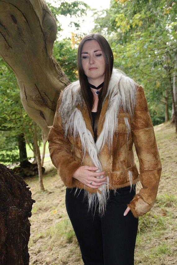 Vintage 70's Authentic Fur Suede Jacket Camel Beige Native
