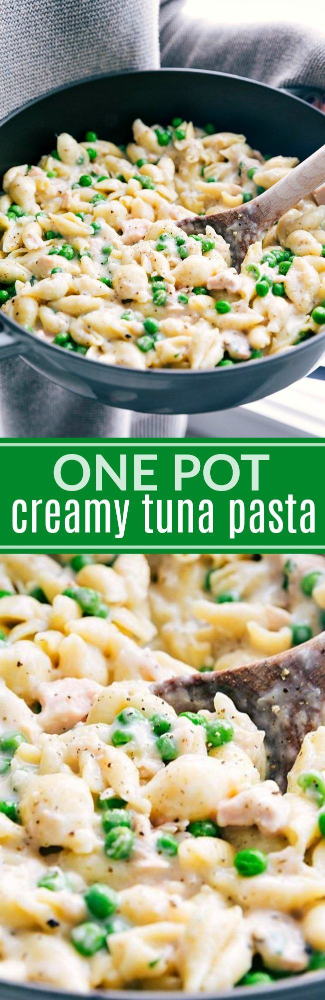 The best and easiest ONE POT creamy tuna pasta! A super easy and quick ONE DISH dinner! via chelseasmessyapron.com