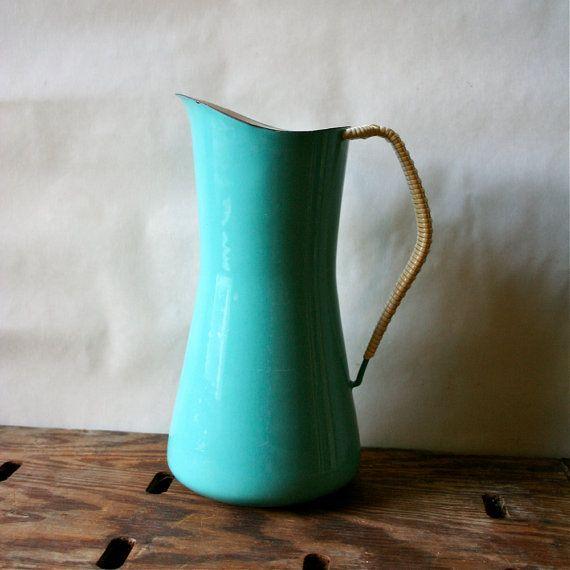 Dansk Denmark Kobenstyle Pitcher Cookware - IHQ Enameled Quistgaard Aqua Turquoise