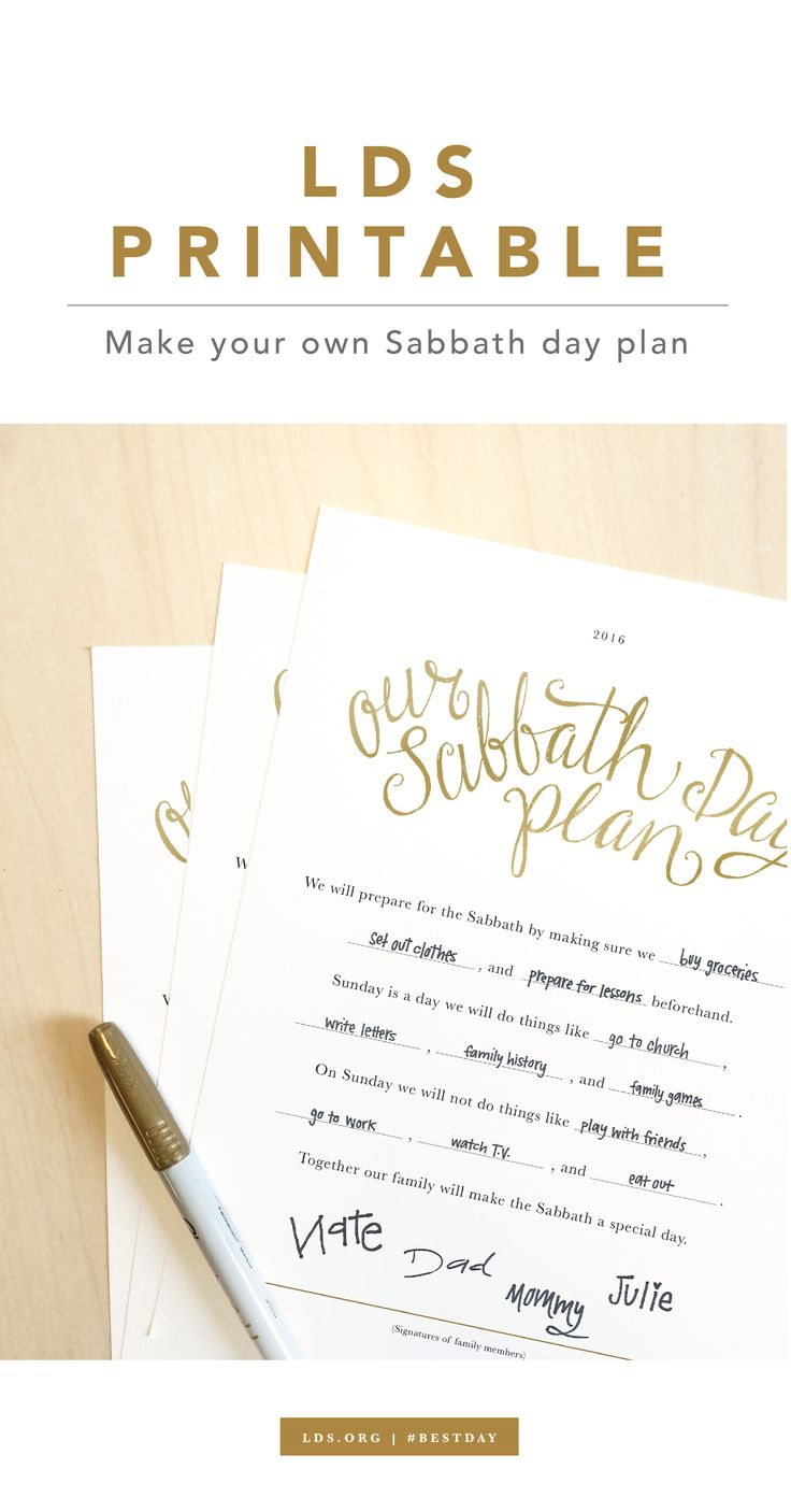 Making a Sabbath Day Plan - Download this printable for your next family home evening.