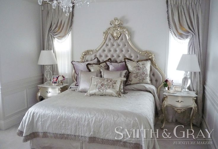 French-inspired Handcarved and gilded bedhead and matching bedsides with fabric and deep diamond buttoning and fabric buttons. Credit: Design by Mary Durack Interior Design - See more at: www.smithandgray.com.au - Australian Custom Made Furniture
