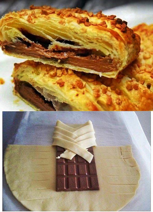 Оригинальные слойки с шоколадом. Минимум ингредиентов и усилий!