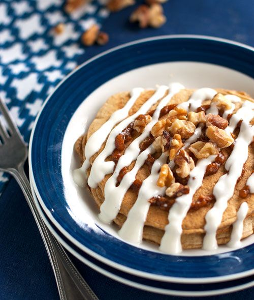Healthy Cinnamon Roll Pancakes-bet this would be good with applesauce as a sub for the pumpkin puree too.