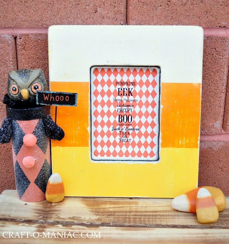 Love this candy corn painted frame
