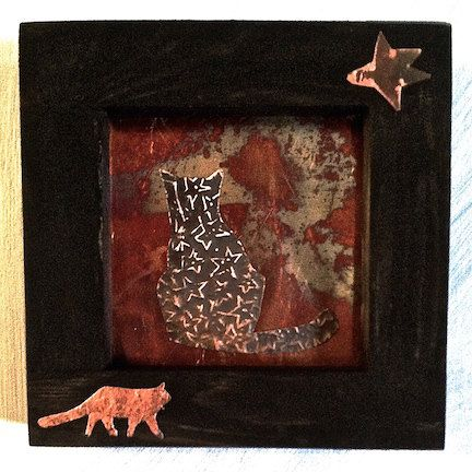 copper cat with wood frame and embellishments 5x5 by juliannjones