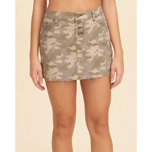 Hollister Button Fly Camo Twill Mini Skirt (€35) ❤ liked on Polyvore featuring skirts, mini skirts, camo print skirt, short mini skirts, mini skirt, camouflage skirt and twill mini skirt