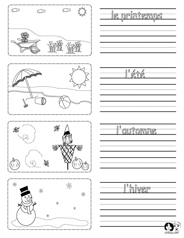 Spring Printouts French ~ French for Kids ~ www.chillola.com