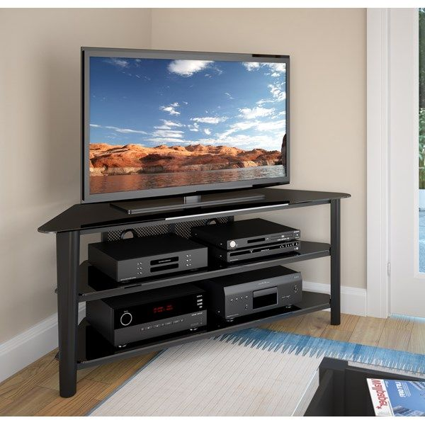 "CorLiving Alturas 60"" Black Stained Wood Veneer TV Stand"