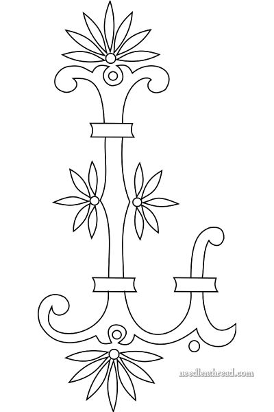 Monogram for Hand Embroidery: Fan Flower L~ All letters available~