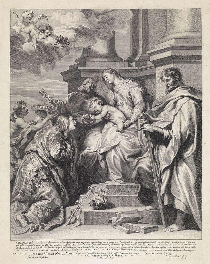 Paulus Pontius | Kroning van de H. Rosalia, Paulus Pontius, Antoine Bonenfant, unknown, 1616 - 1657 | De Heilige Rosalia wordt door het Christuskind gekroond met een krans van rozen. Aan haar voeten liggen haar attributen de lelie en een schedel. Het Christuskind zit op de schoot van Maria. Ze worden vergezeld door de apostelen Petrus en Paulus. In de marge een vierregelig onderschrift en een tweeregelig onderschrift met een opdracht in het Latijn.