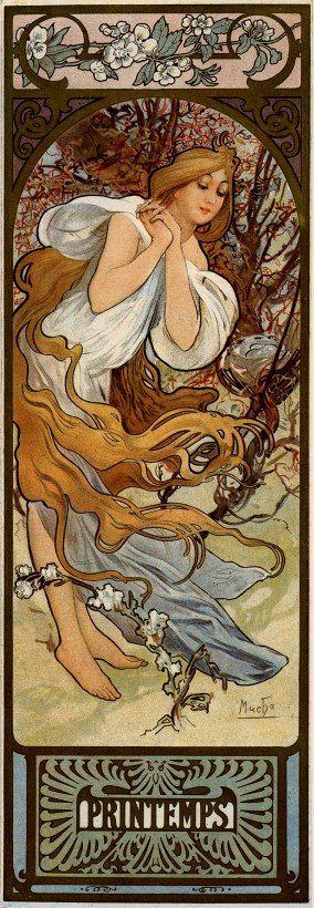 classicwood: Alphonse Mucha: The Seasons: Spring (1897)