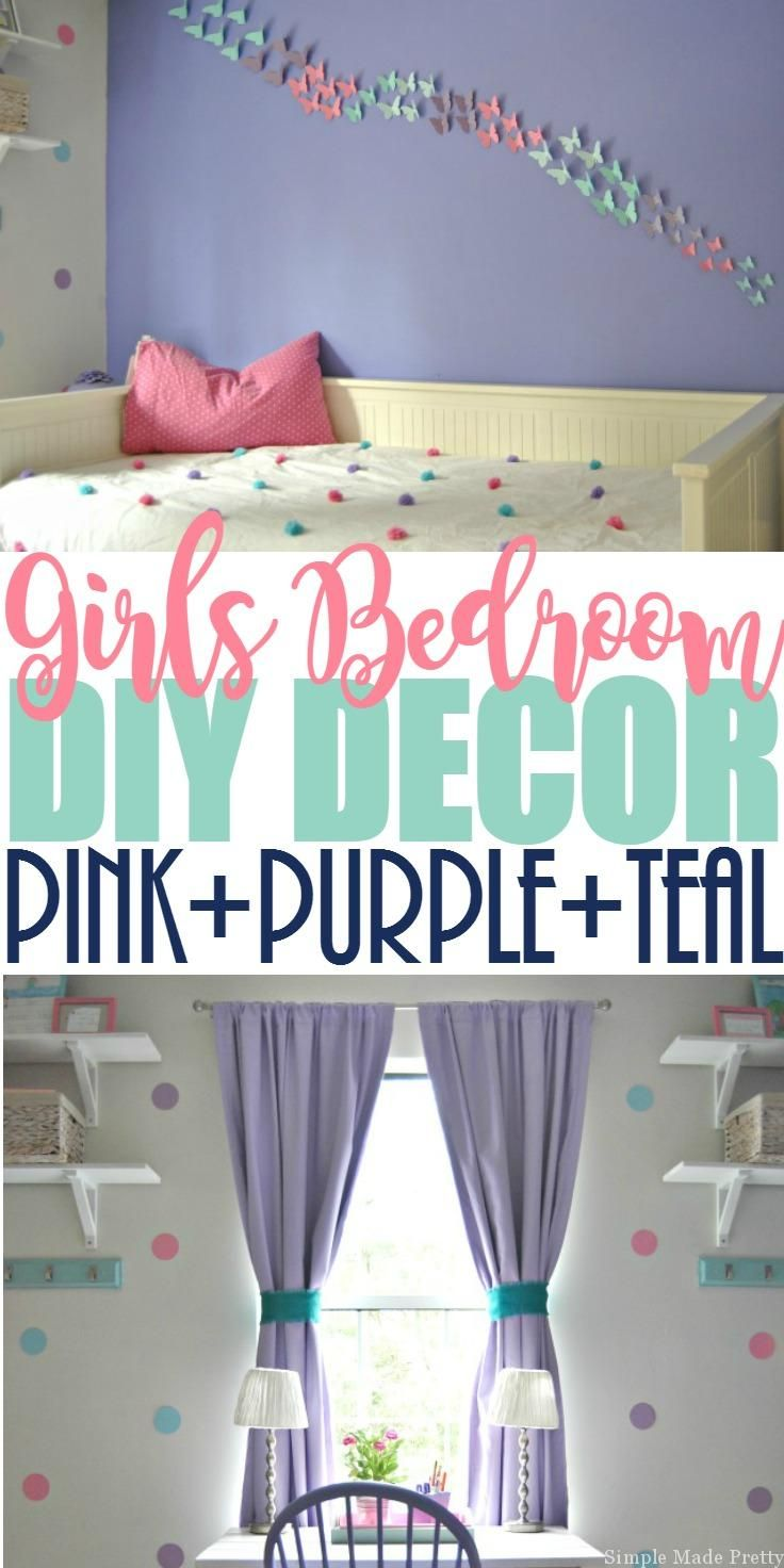 Update a girl's bedroom with this Girls Bedroom Decor with a Purple, Pink, and Teal Theme. This girls purple bedroom decor is mostly DIY bedroom decor projects made using my Cricut Explore, paint, cardstock, and other inexpensive materials. We went with a Teal bedroom theme so it wasn't purple overload. We incorporated a Pink bedroom theme because our daughter had so many leftover pink decor items since her previous bedroom was pink.