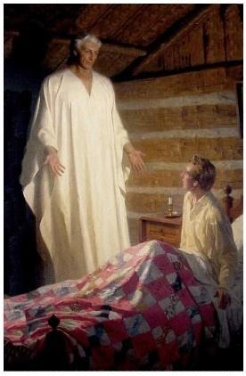 Angel Moroni visiting Joseph Smith. The Angel Moroni told Joseph Smith about the Book of Mormon.