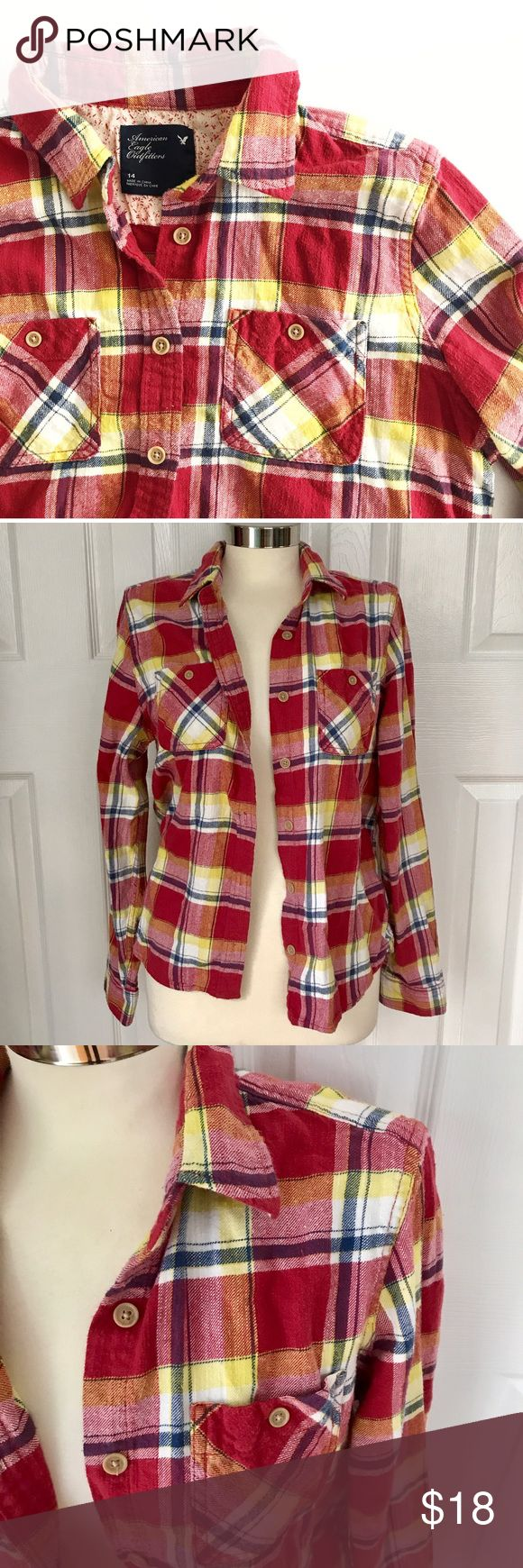 American Eagle Outfitters Red Plaid Flannel Longsleeve button down shirt. Plaid red white blue yellow. 100% cotton. AE Outfitters size 14, fits size large. Could also work for a small or medium for more of an oversized look. First photo on left not actual item just showing for styling inspiration! American Eagle Outfitters Tops