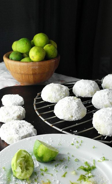 Thai Ginger Key Lime Wedding Cookies by onlinepastrychef, via Flickr Seriously good. =)