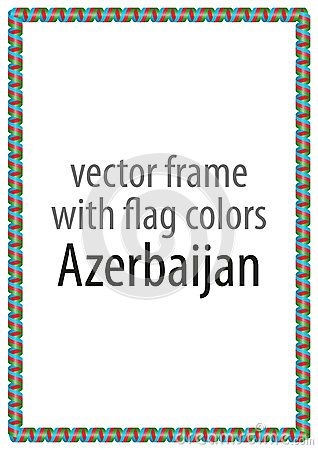 Frame and border of ribbon with the colors of the Azerbaijan flag.