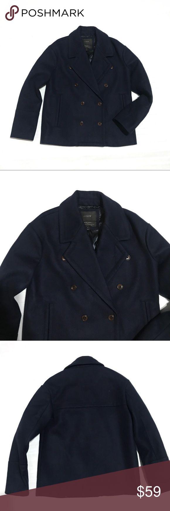 """J.Crew Melton wool navy Pea coat Sz 2 J.Crew jacket. Sz 2. Excellent condition. Chest flat across 20.5"""" length 25"""" J. Crew Jackets & Coats Pea Coats"""